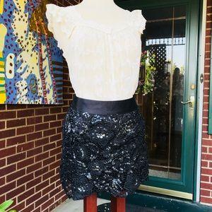 Forever 21 Black Lace Sequin Mini Skirt